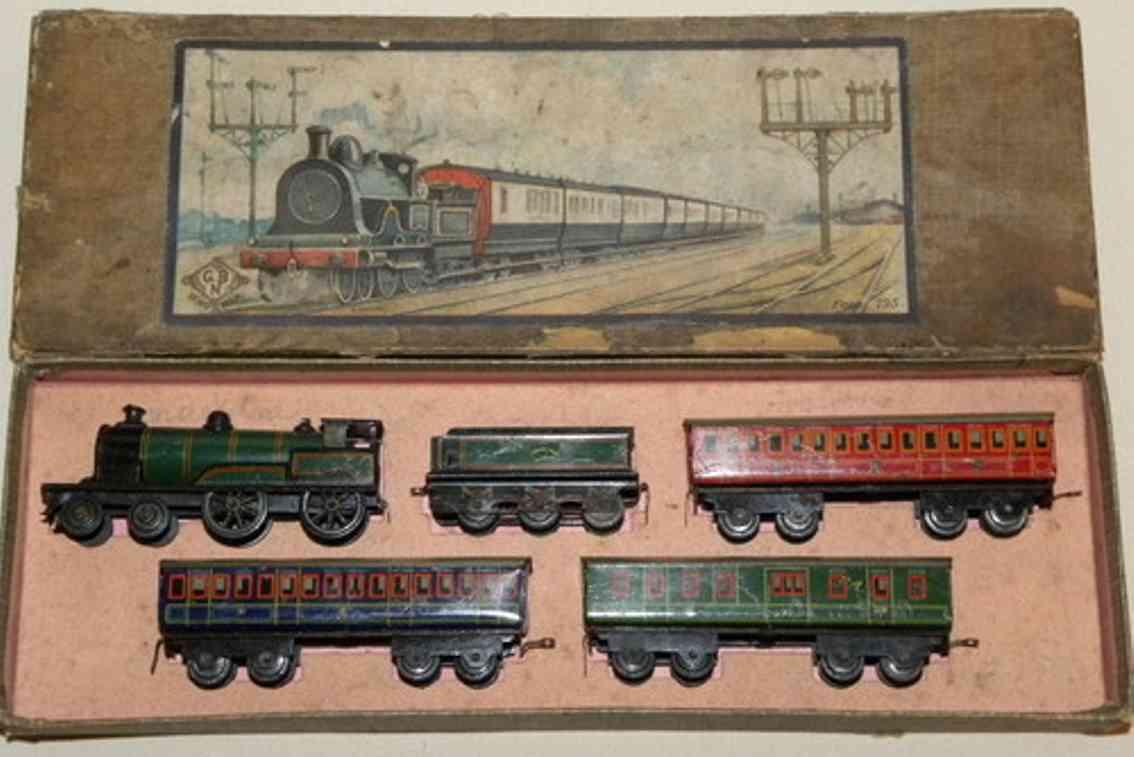 bing penny toy zugpackung mit lokomotive, tender und 3 personenwagen. lokom