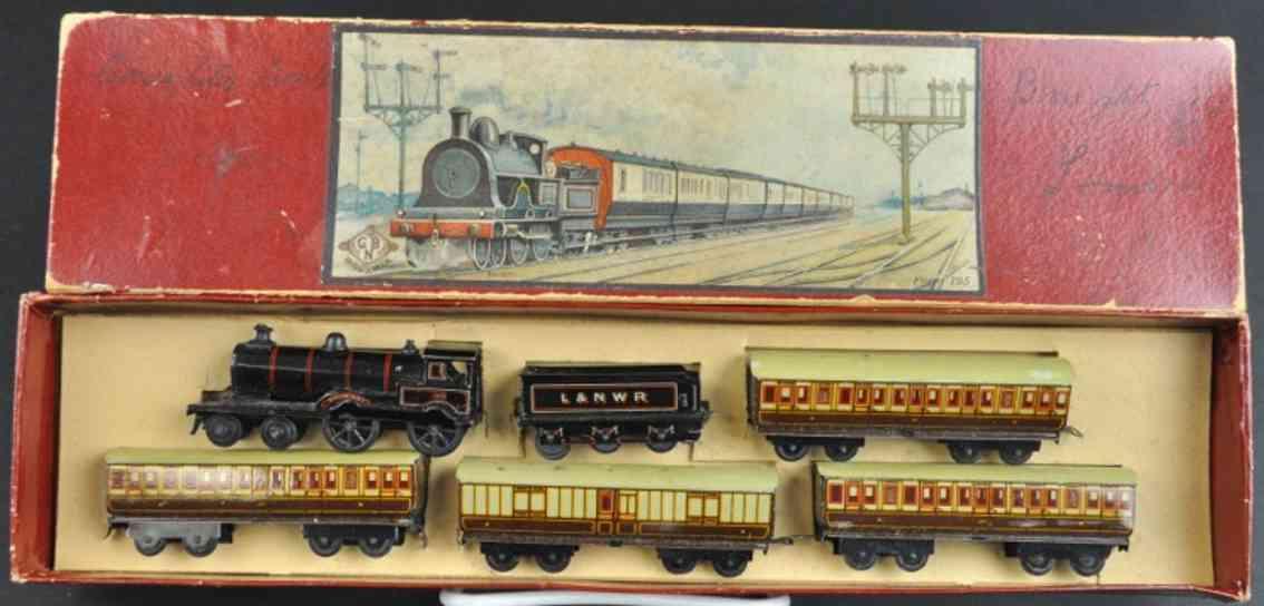 bing penny toy train steam locomotive trender four cars