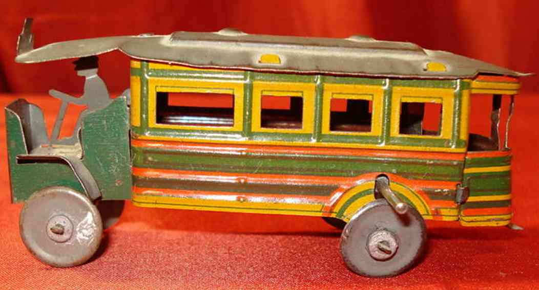 cp france penny toy paris city bus with flywheel drive