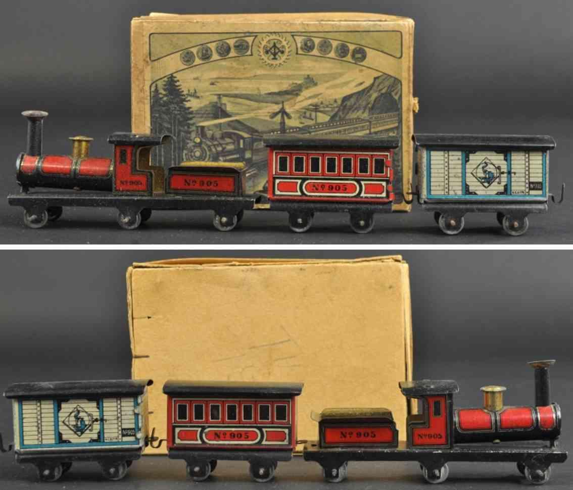 carette penny toy train set loco tender coach box car