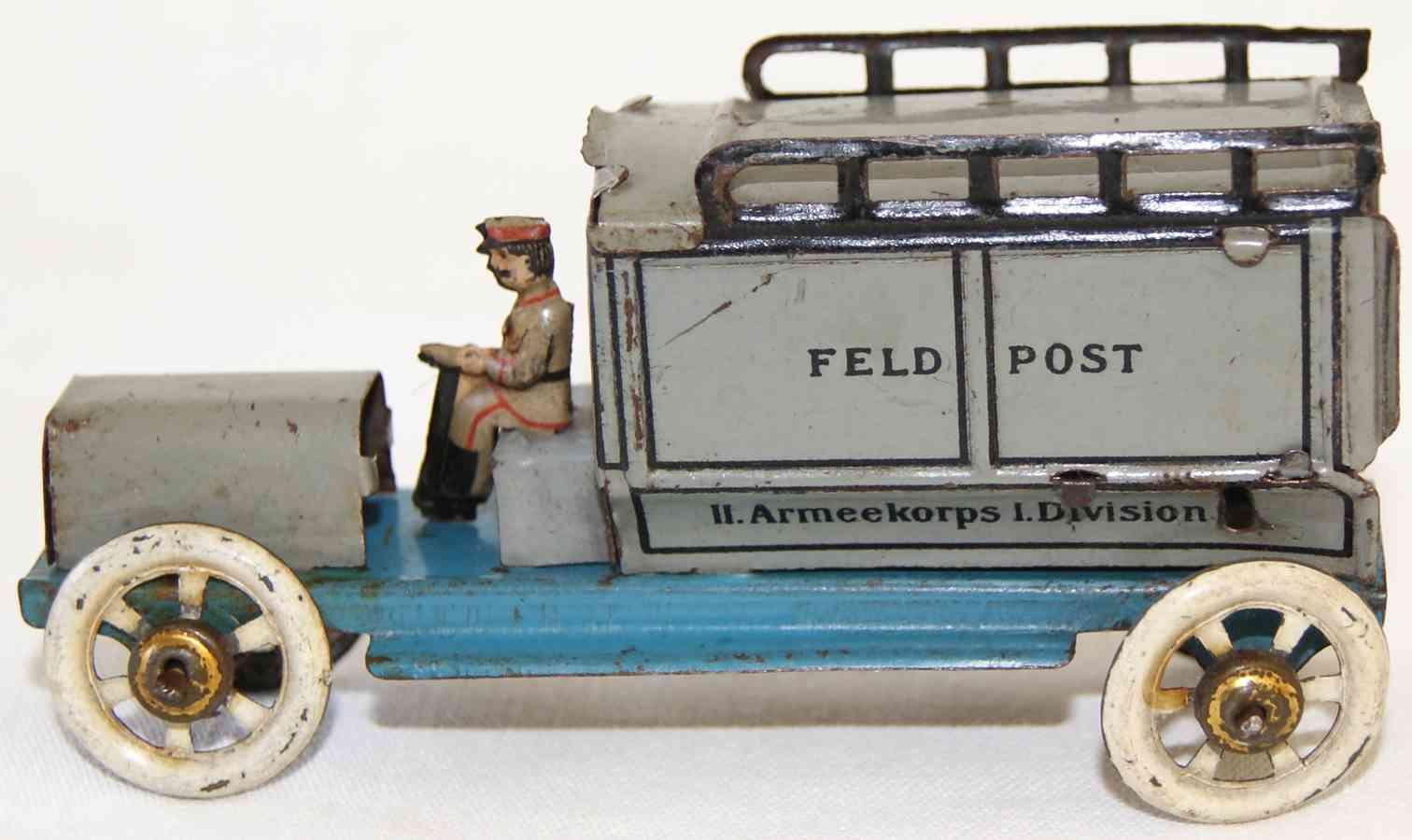 distler johann penny toy postlieferwagen in grau mit fahrer