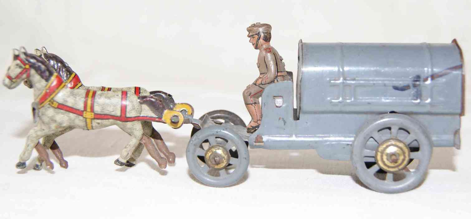 distler johann 127 penny toy military carriage team with driver and 2 horses