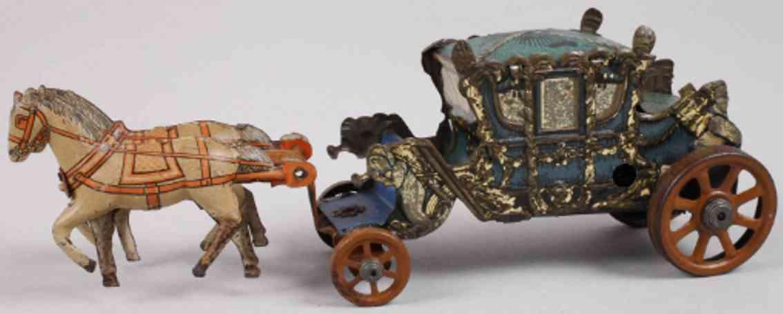 distler penny toy zwei pferde kroenungskutsche uhrwerk