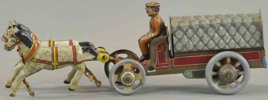 distler penny toy bedeckter pferdewagen fahrer 2 pferde