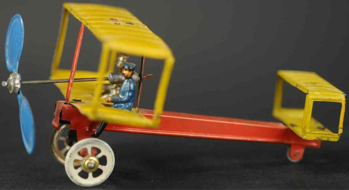 distler johann penny toy doppeldecker beweglicher propeller pilot