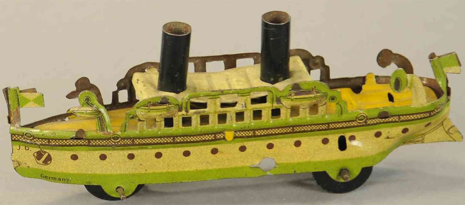 distler johann penny toy passagierschiff in weiss gruen 2 kamine