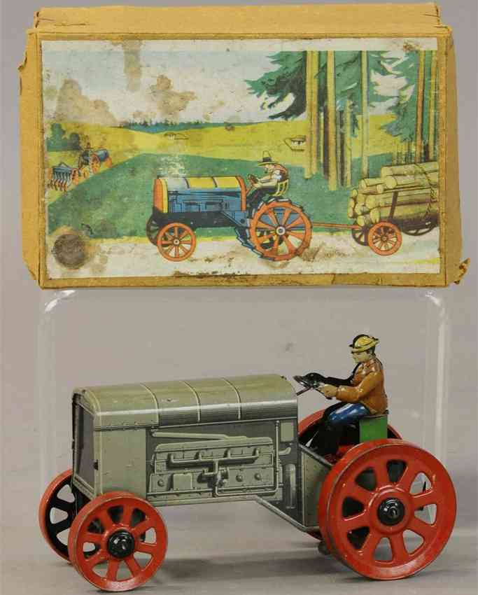 distler johann penny toy large wind-up tractor with driver