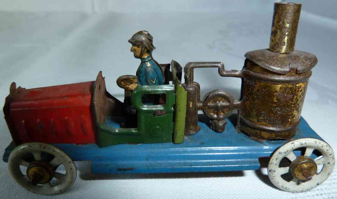 distler johann penny toy fire brigade tank car with firefighter