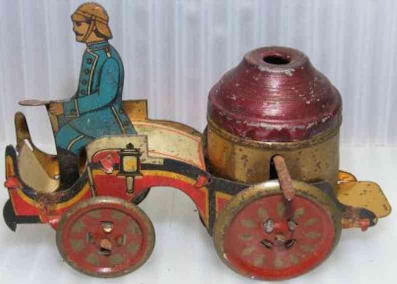 distler penny toy fire pumper truck flywheel driven