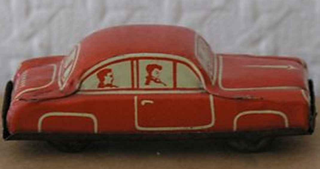 fischer georg 201 penny toy limousine gf-201, lithografiert mit fahrer und passagieren,