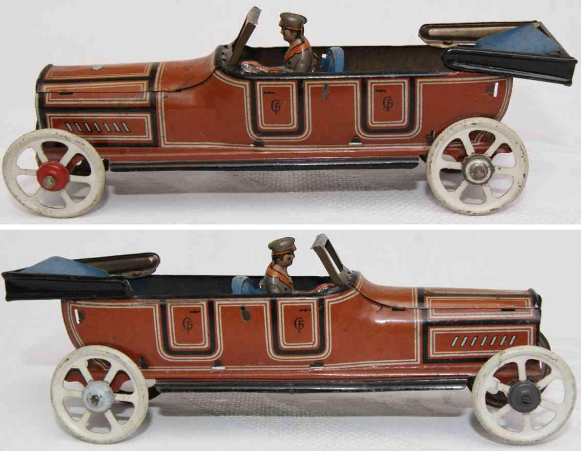 fischer georg 2061/4 penny toy offener tourenwagen braun blau