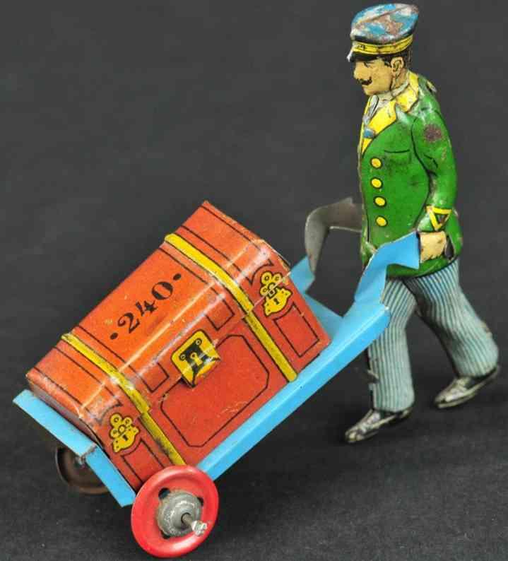 fischer georg 240 penny toy dienstmann mit karre und gepaeck
