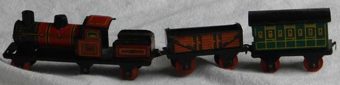fischer georg john hess 291/2 blech penny toy spielzeug lokomotive 2 wagen