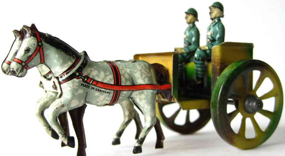 fischer georg penny toy pferdegespann zwei soldaten pferde