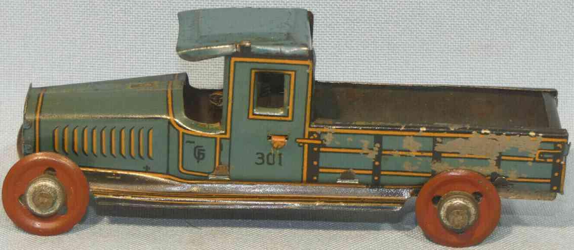 fischer georg 301 penny toy pritschenwagen als schiebemodell blau