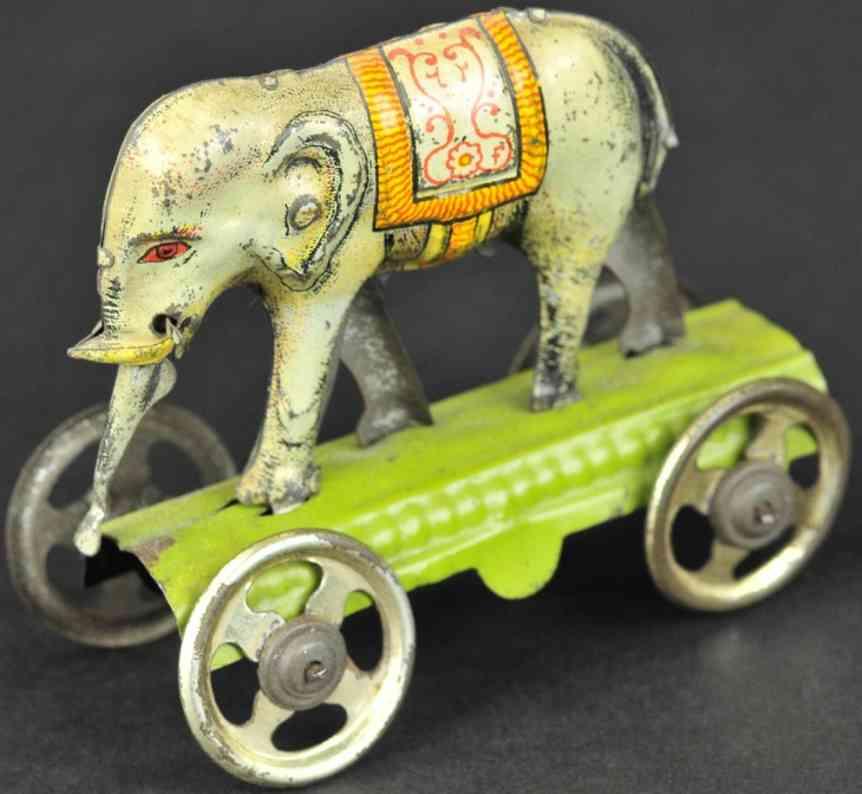 fischer georg blech penny toy elefant auf gruener plattform