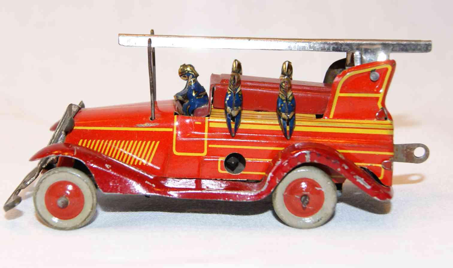 fischer georg penny toy fire ladder truck 5 men