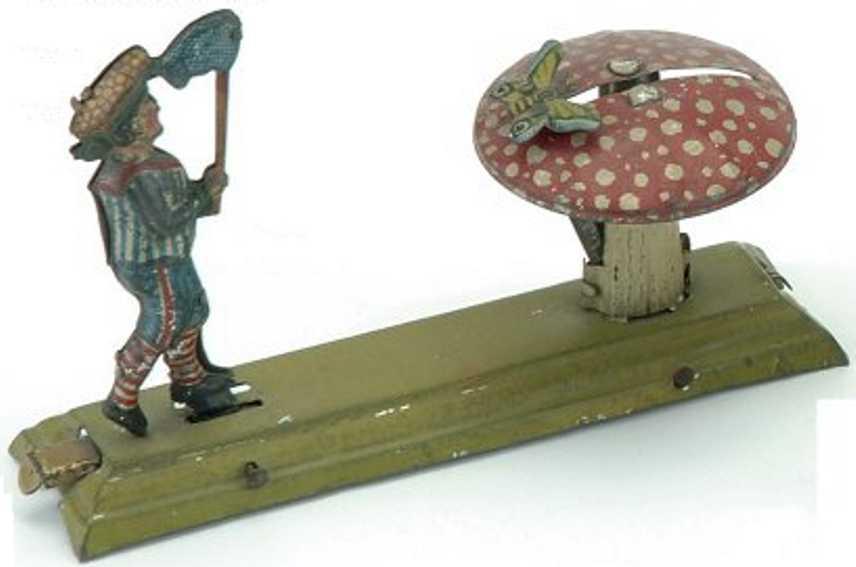 fischer georg blech penny toy junge mit schmetterlingsnetz und pilz
