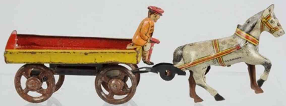 georg fischer penny toy 2061/3 horse with cart and driver tin