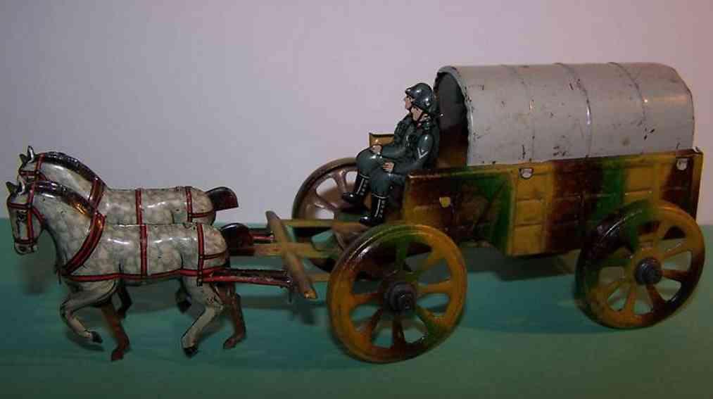 fischer georg penny toy feldwagen-gespann zwei pferde soldaten