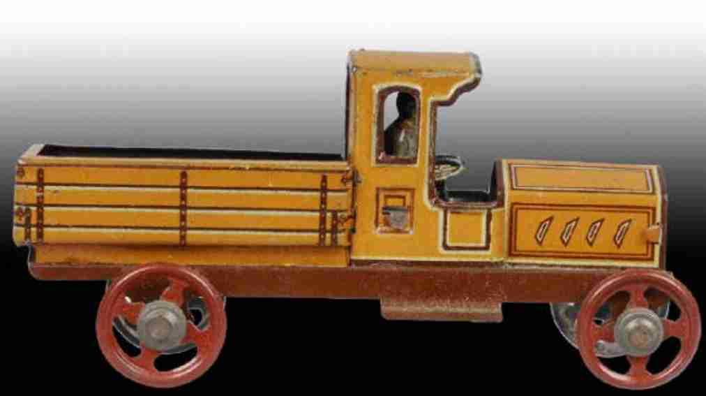 fischer georg penny toy lastwagen pritschenwagen mit fahrer orange braun