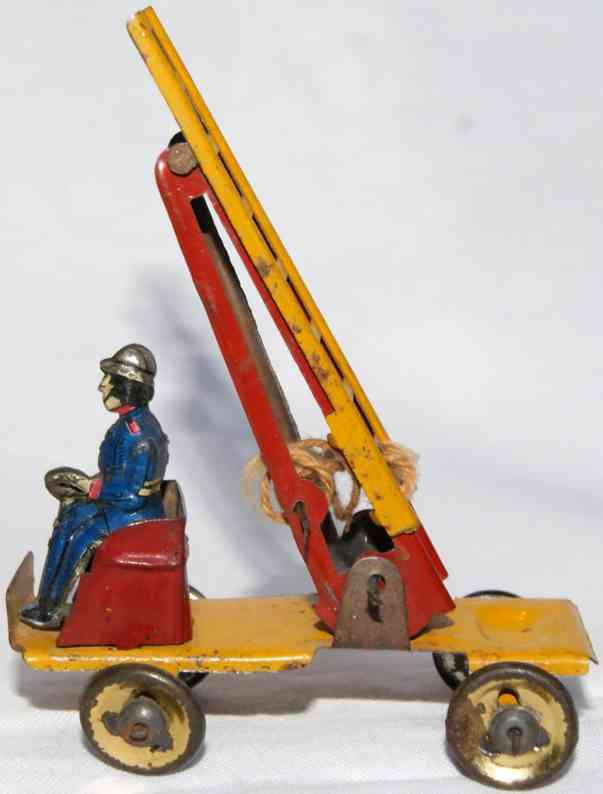 fischer georg penny toy feuerwehrleiterwagen gelb braun frankreich