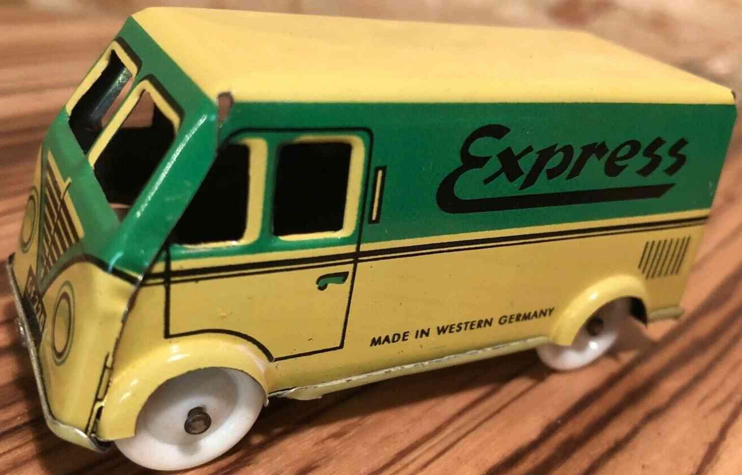 fischer georg penny toy lieferwagen blech gruen gelb