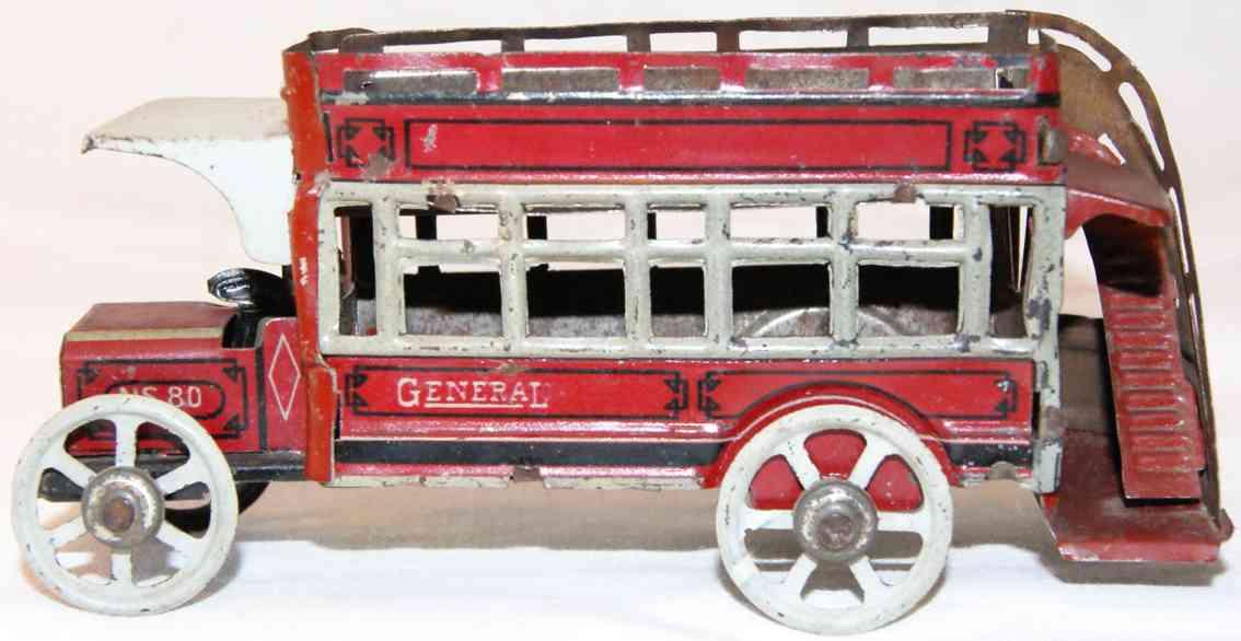 fischer georg sb 80 penny toy doppeldecker bus  fahrer aussenwendeltreppe