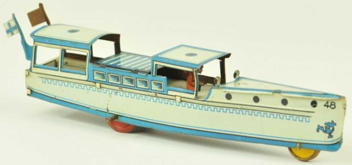 fischer georg penny toy flussboot blau weiss