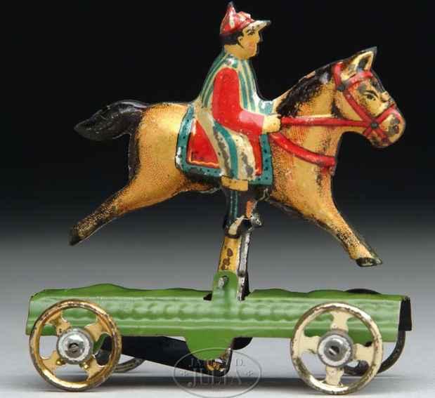 fischer georg penny toy junge auf pferd plattform raeder