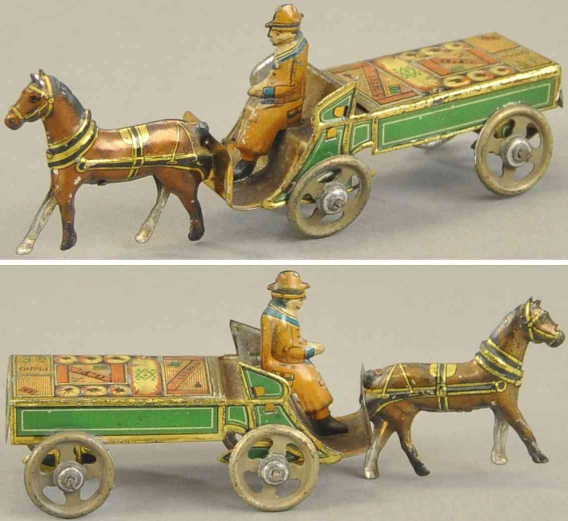 fischer georg  penny toy lieferkutsche fahrer ein pferd
