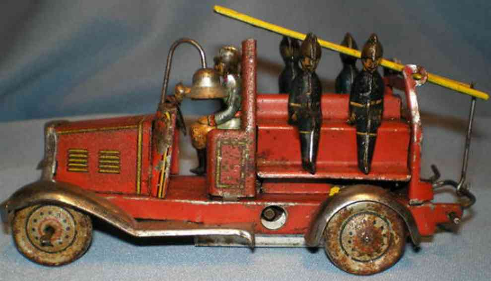 Fischer Georg Penny Toy Windup tin litho penny toy fire ladder truck
