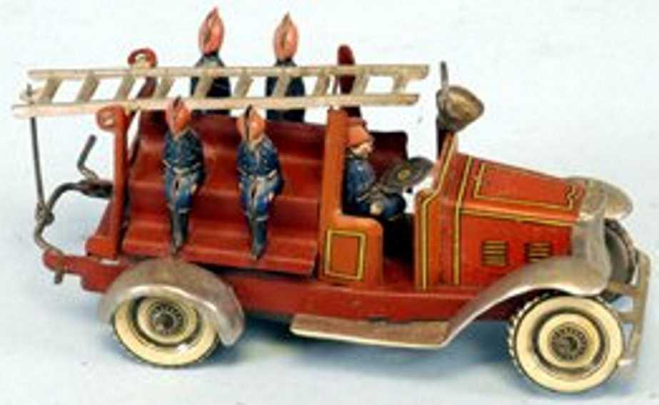 georg fischer penny toy fire ladder truck five firemen