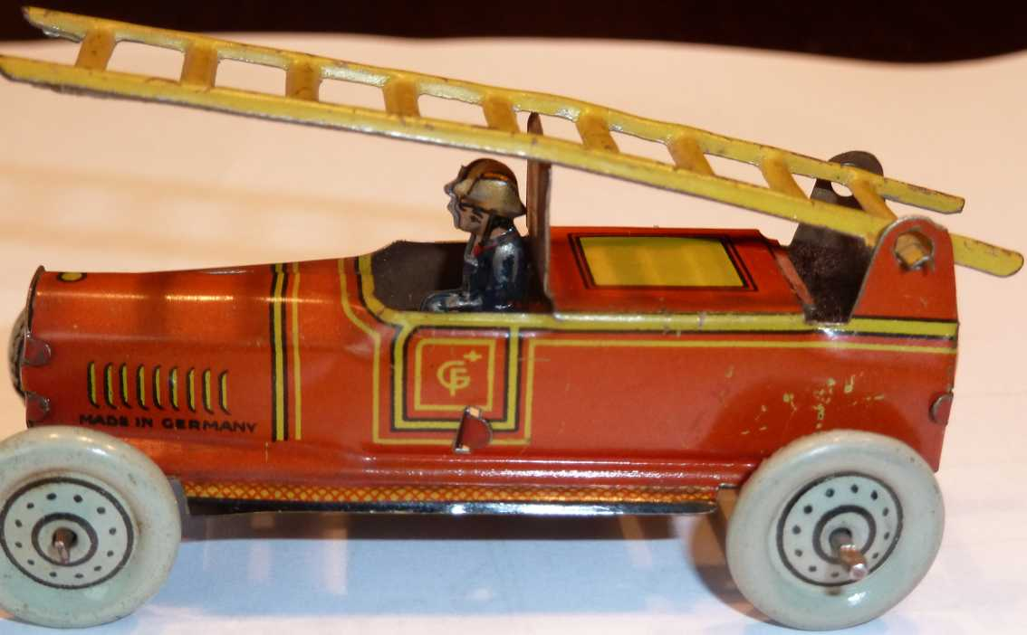 Fischer Georg Penny Toy Fire department car with driver and leader