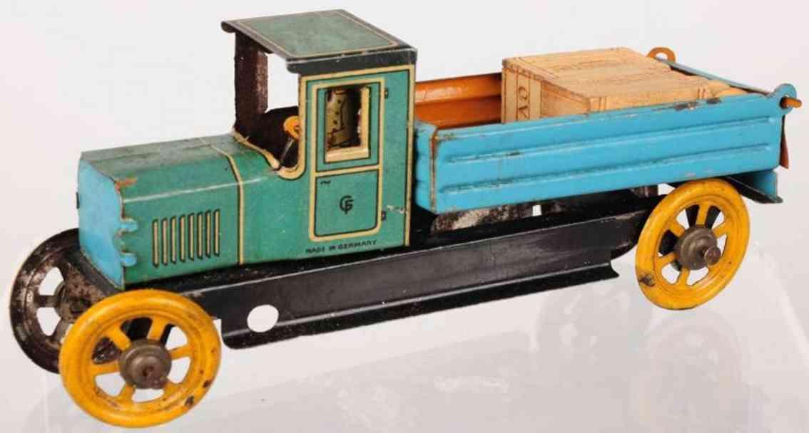 fischer georg penny toy kipplastwagen aus lithografiertem blech