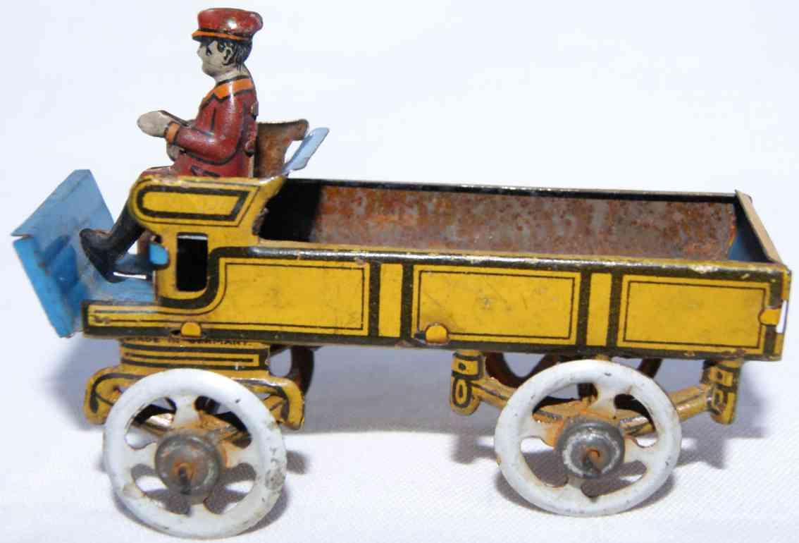 fischer georg penny toy motor pritschenwagen braun blau fahrer