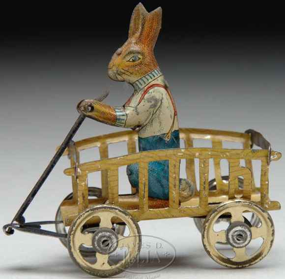 Fischer Georg Penny Toy Hase in Karre