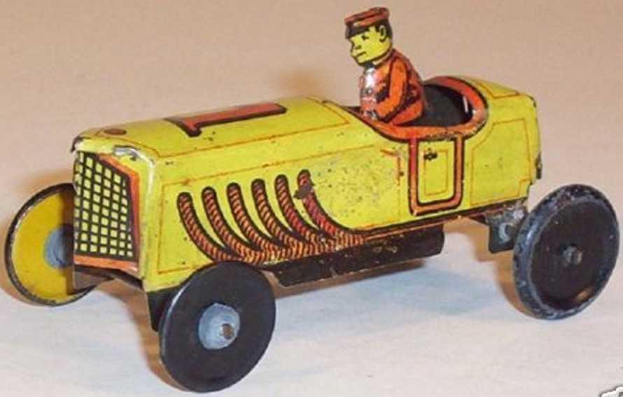 fischer georg rennauto penny toy rennwagen gelb