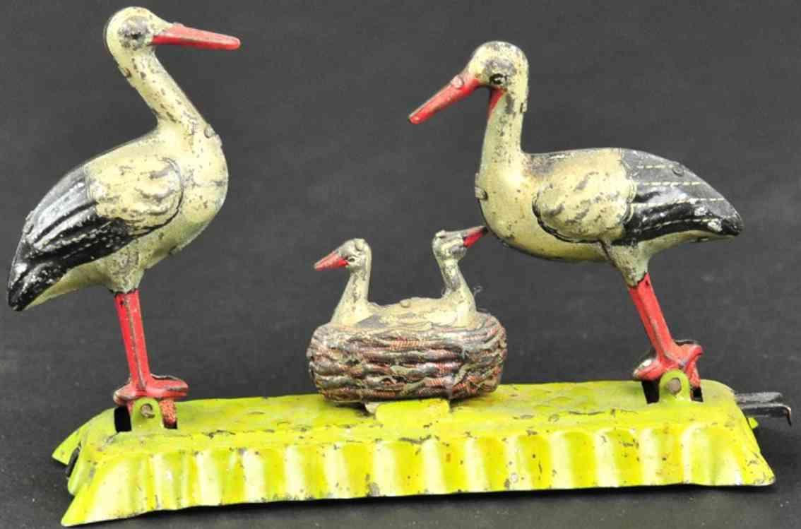 fischer georg blech penny toy zwei stoerche mit storchnest