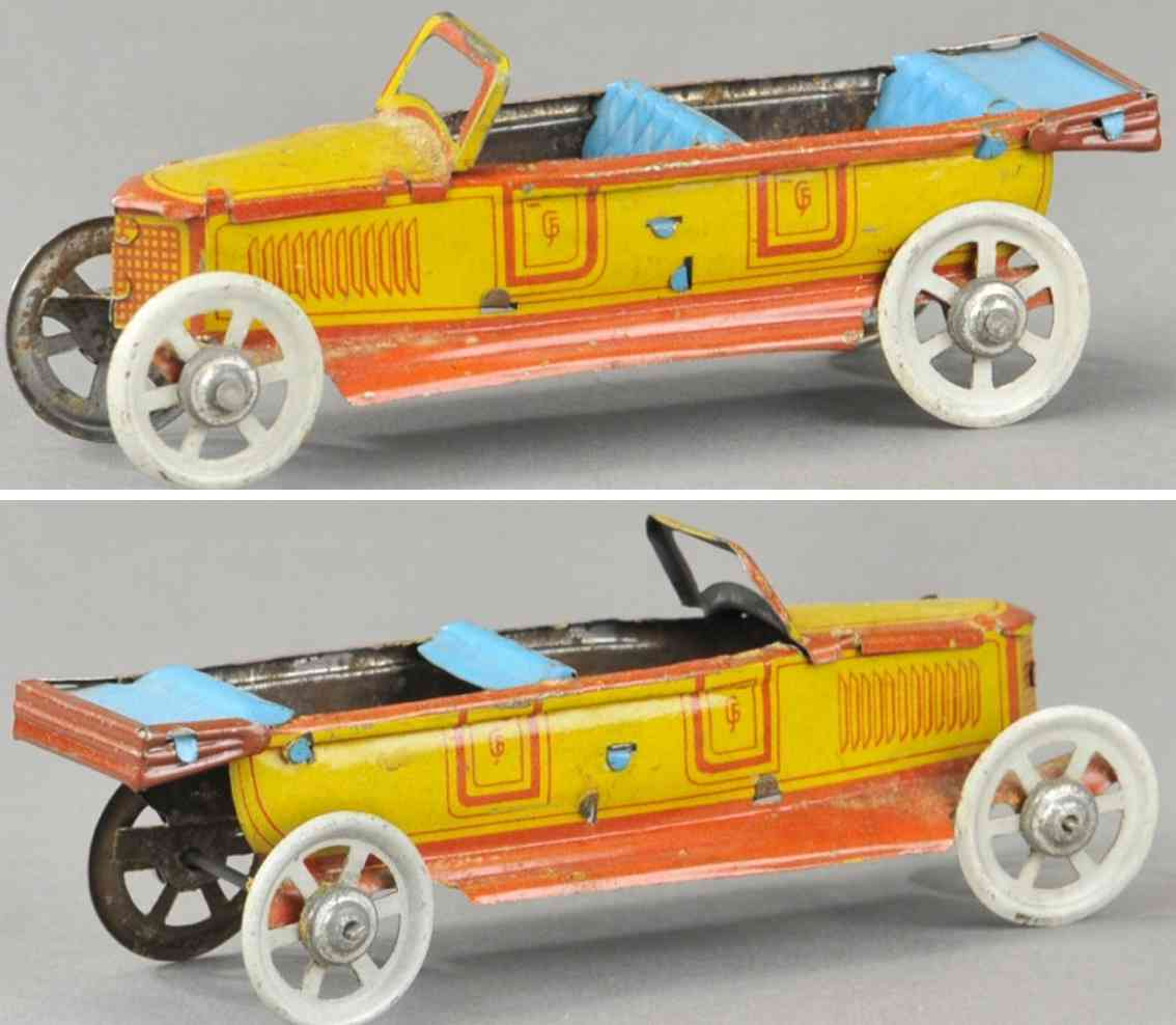 fischer georg penny toy mercedes benz carbrio blech rot gelb