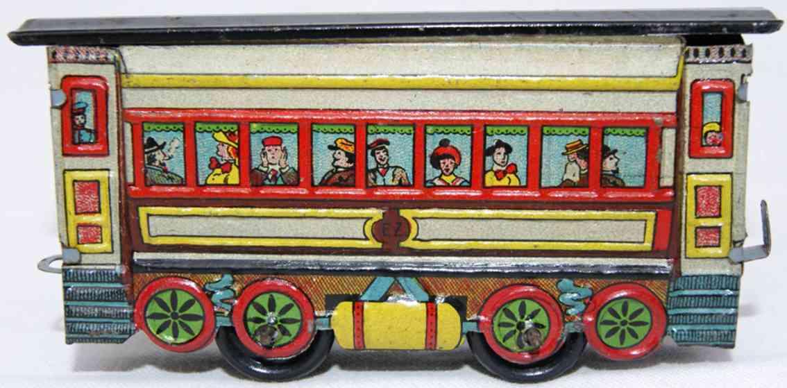 fischer gustav penny toy railway train passenger car