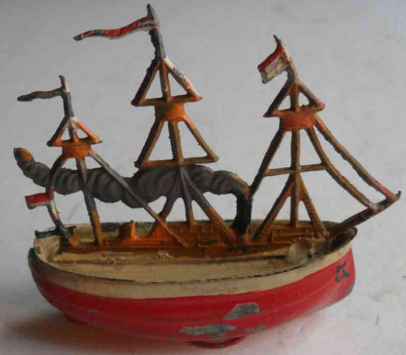 fleischmann penny toy boat hand painted and zinc hulled, three flags, made by flei