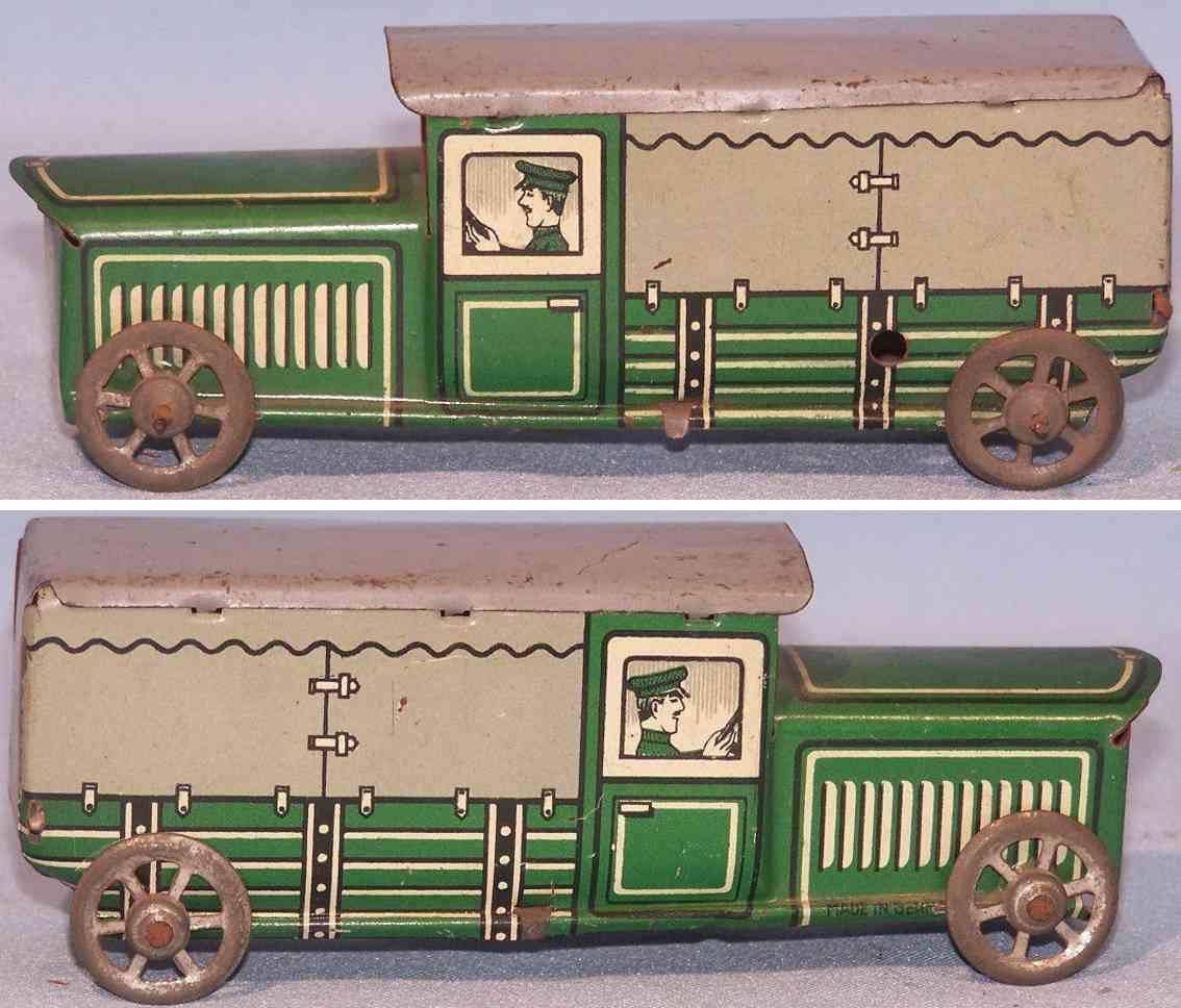 hammerer & kuhlwein 143 penny toy lastwagen blech gruen grau