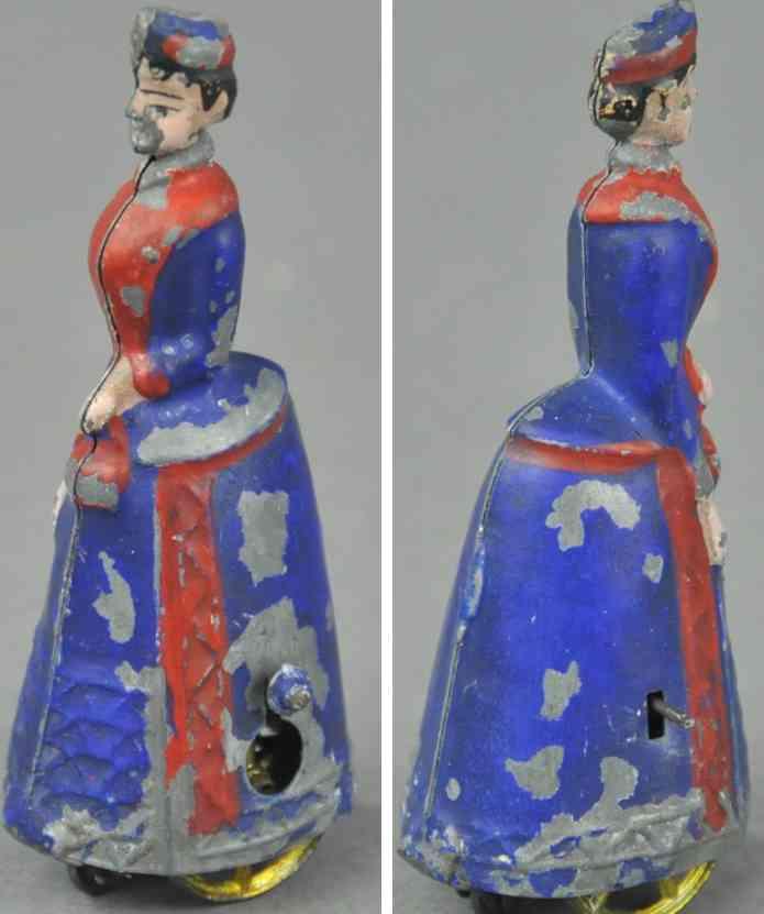 issmayer blech spielzeug gehende dame mit hut schwungradantrieb rot blau