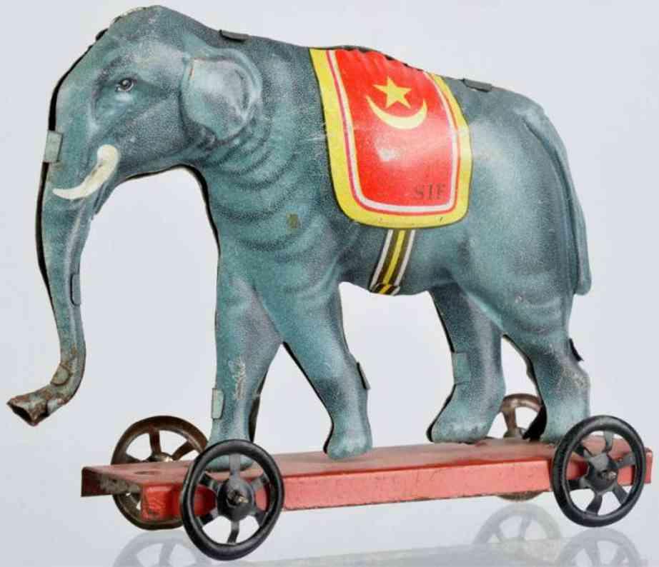 JEP Penny Toy Elefant auf Plattform aus lithografiertem Blech