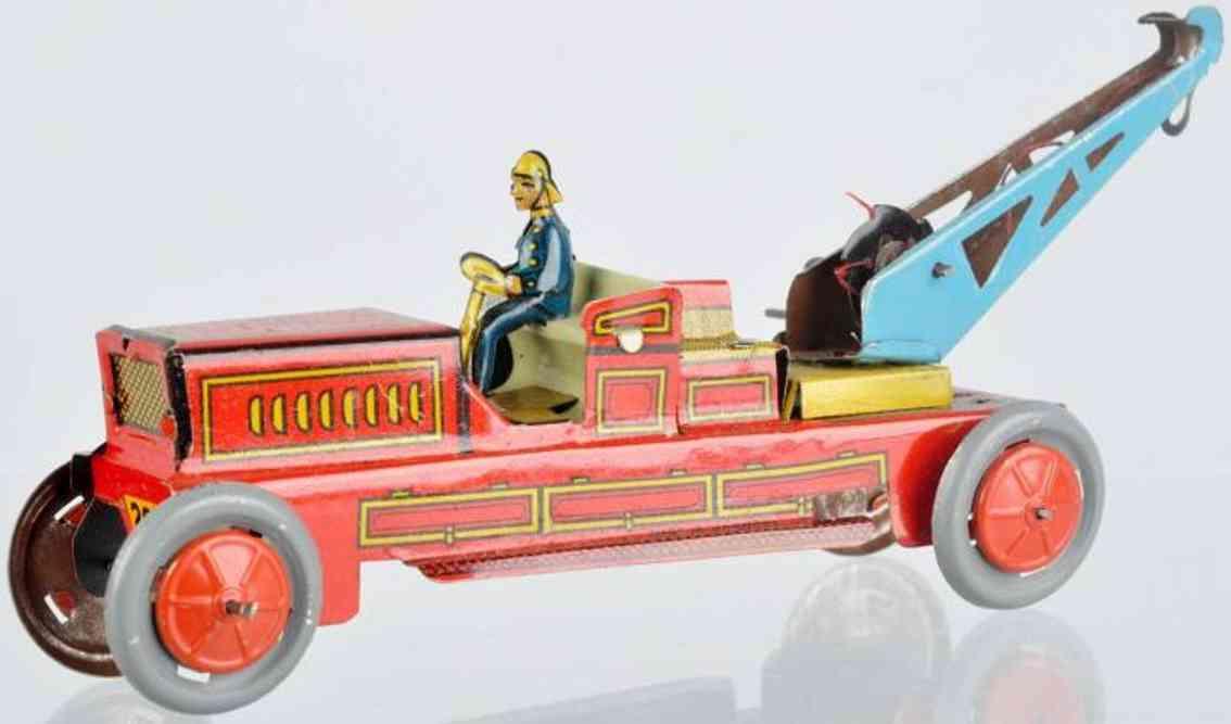 Kellermann 200 Penny Toy Feuerwehrwagen aus lithografiertem Blech mit Ausleger