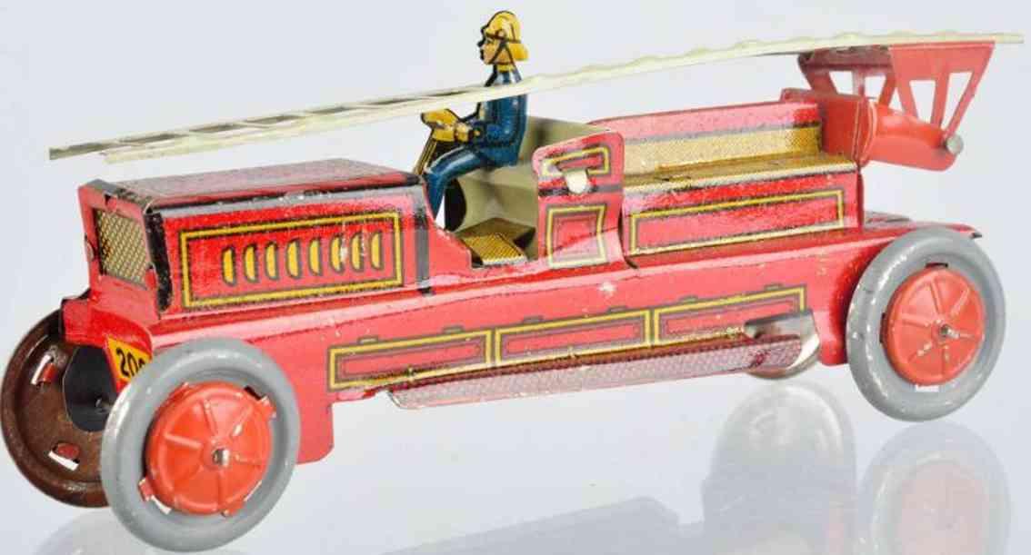 Kellermann 200 Penny Toy Feuerwehrleiterwagen aus lithografiertem Blech