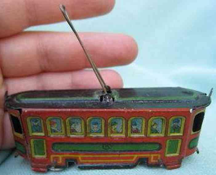 kellermann 229 penny toy straßenbahn lithografiert, mit beweglichem pantographen, gem