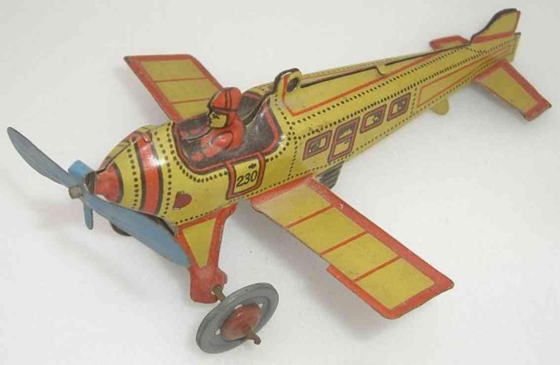 kellermann 230 penny toy flieger flugzeug gelb rot