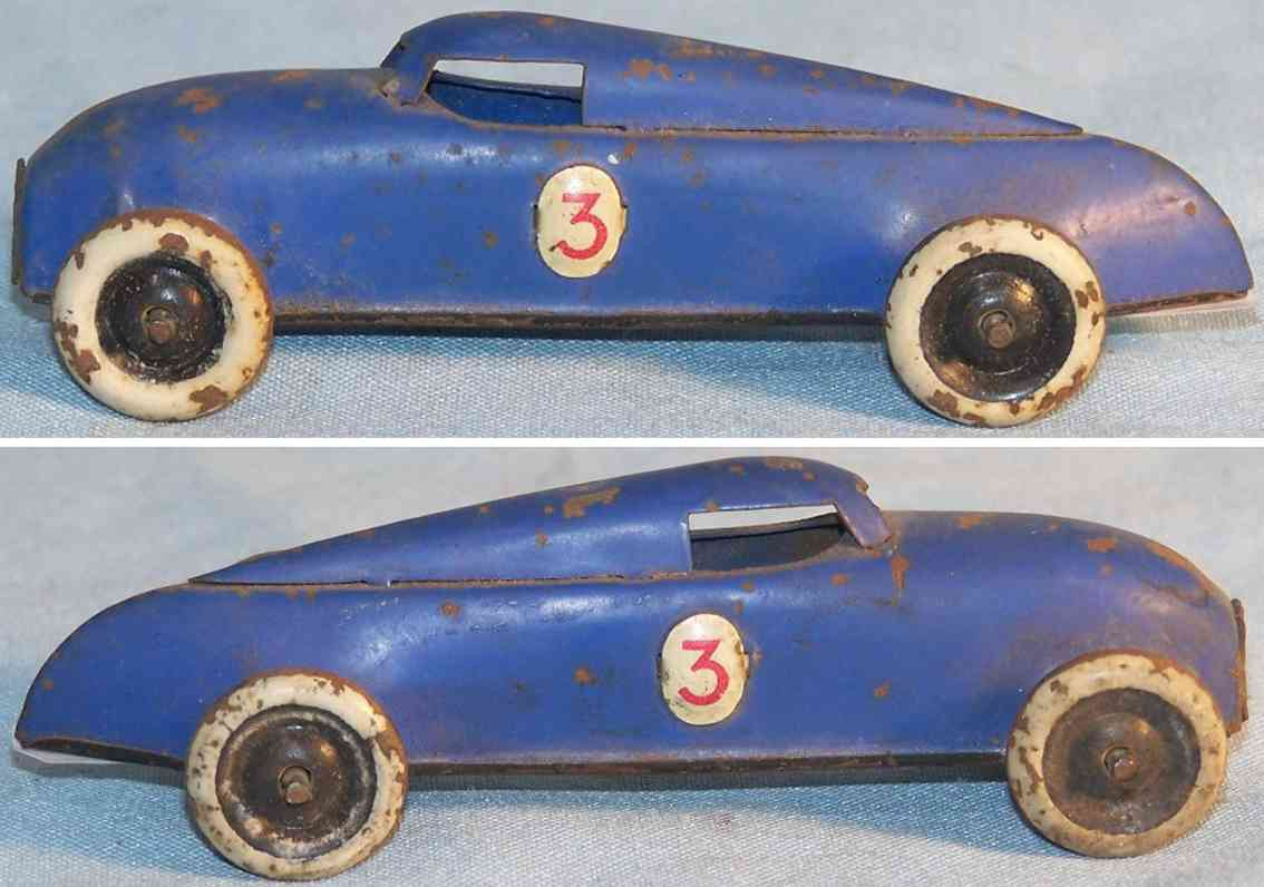 lehmann 808/1 penny toy racing car in blue without clockwork gnom-series
